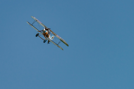 RHINEBECK, NY - SEPTEMBER 25, 2016: The Aerodrome Air Show Team perform a show with the  World War I plane Albatros D.Va (Reproduction) at Old Rhinebeck Aerodrome