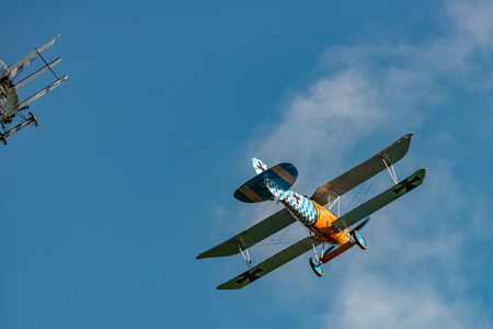 RHINEBECK, NY - SEPTEMBER 25, 2016: The Aerodrome Air Show Team perform a show with the  World War I plane Albatros D.Va (Reproduction) at Old Rhinebeck Aerodrome
