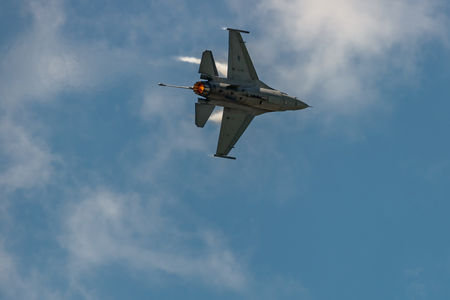 NEW WINDSOR, NY - JULY 2, 2017: The evolution of F 16 Falcon from Stewart International Airport during the New York Airshow. Editorial