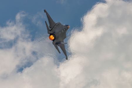 NEW WINDSOR, NY - JULY 2, 2017: The Lockheed Martin F-35 Lightning II from Stewart International Airport during the New York Airshow.