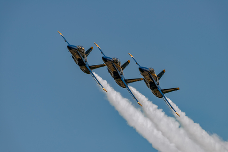 NEW WINDSOR, NY - JULY 2, 2017: U.S.NAVY Blue Angles perform at the Stewart International Airport during the New York Airshow. Squadron is the official air demonstration team for the United States Air Force