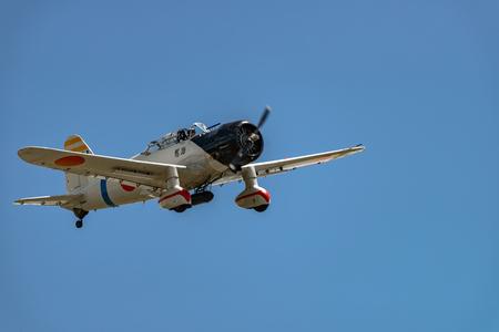 READING, PA - JUNE 3, 2017: AICHI D3A1 VALn flight during World War II reenactment at Mid-Atlantic Air Museum