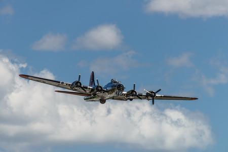 READING, PA - JUNE 3, 2017: BoeningB-17G Flying Fortress'Yankee Lady' in flight during World War II reenactment at Mid-Atlantic Air Museum Editorial