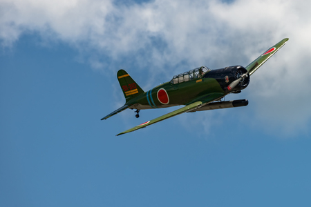 READING, PA - JUNE 3, 2017: Nakajima B5N2 KATEin flight during World War II reenactment at Mid-Atlantic Air Museum Editorial