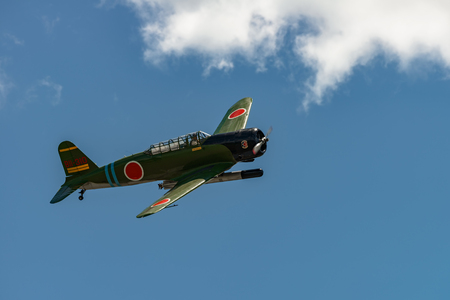 READING, PA - JUNE 3, 2017: Nakajima B5N2 KATEin flight during World War II reenactment at Mid-Atlantic Air Museum Editorial