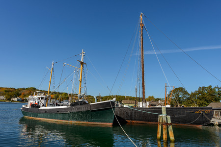 Roann at Mystic Seaport, Roan is one of the last surviving examples of the fishing vessels Stock Photo
