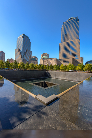 NEW YORK - USA - OCTOBER 19, 2017- People near freedom tower and 9-11 memorial