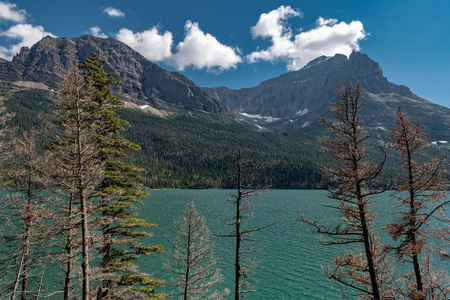 Beautiful landscape view of St Mary Lake in Glacier National Park, Montana, 版權商用圖片