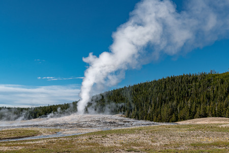 Eruption of Old Faithful geyser at Yellowstone National Park USA