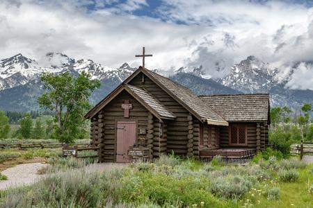 Chapel of the Transfiguration in the Grand Teton National Park, Wyoming 版權商用圖片