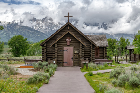 Chapel of the Transfiguration in the Grand Teton National Park, Wyoming Zdjęcie Seryjne