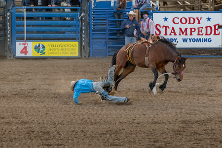 CODY, WYOMING - JUNE 29, 2018: Cody Stampede Park arena. Cody is the Rodeo Capitol of the World. 2018 marks 80th anniversary of nightly performances.