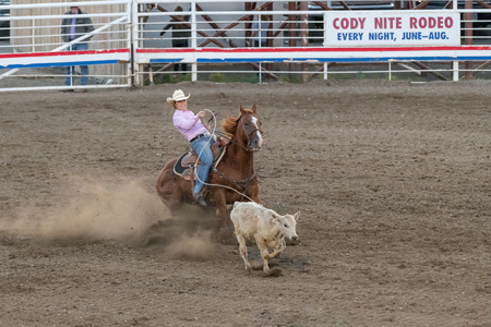 CODY, WYOMING - JUNE 29, 2018: Cody Stampede Park arena. Cody is the Rodeo Capitol of the World. 2018 marks 80th anniversary of nightly performances. Zdjęcie Seryjne - 122440657