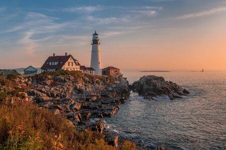 Magical sunrise at the iconic Portland Head Light. Portland, Maine