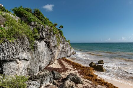 Beautiful beach in Tulum Mexico, Mayan ruins on top of the cliff. Stok Fotoğraf