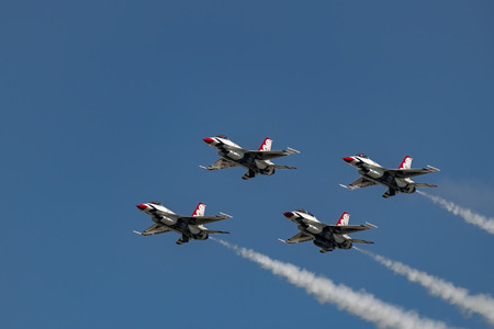 NEW WINDSOR NY - SEPTEMBER 15 2018: USAF Thunderbirds perform at the Stewart International Airport during the New York Airshow. Squadron is the official air demonstration team for the United States Air Force Editöryel