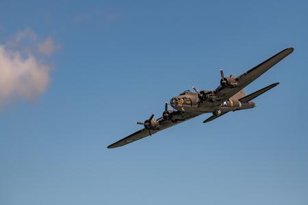 NEW WINDSOR NY - SEPTEMBER 15 2018: World War II era Boeing B-17 Flying Fortress bomber aircraft the Memphis Belle Editöryel