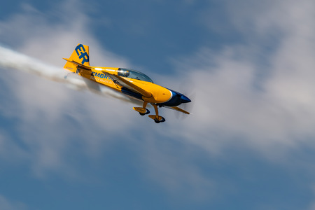 NEW WINDSOR NY - SEPTEMBER 15 2018: Matt Chapman in the Embry-Riddle Extra 300  perform at the Stewart International Airport during the New York Airshow. Editöryel
