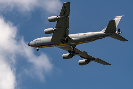 NEW WINDSOR NY - SEPTEMBER 15 2018:   A United States Air Force KC-135 Stratotanker performs a flyby at the Star Spangled Salute Air & Space Show at Tinker Air Force Base. Editöryel