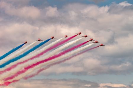 NEW WINDSOR NY - AUGUST 2, 2019: Royal Air Force Red Arrows perform at the Stewart International Airport during the New York Airshow.