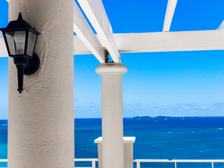 A view from the deck in the U.S. Virgin Islands Stock Photo
