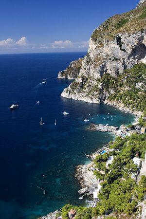 View of Marina Picola in the island of Capri along the Amalfi Coast of Italy