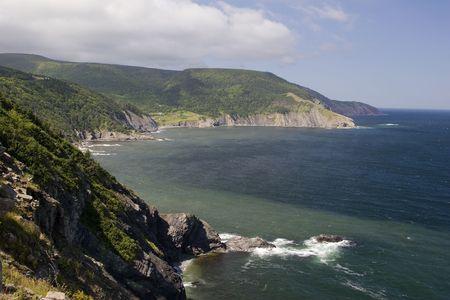 View of the coast of Cape Breton Isand in Nova Scotia