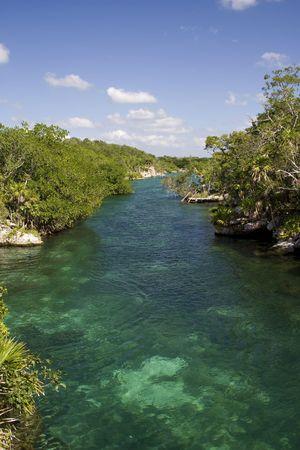 River leading to the lagoon in Xel-Ha Mexico Stock Photo