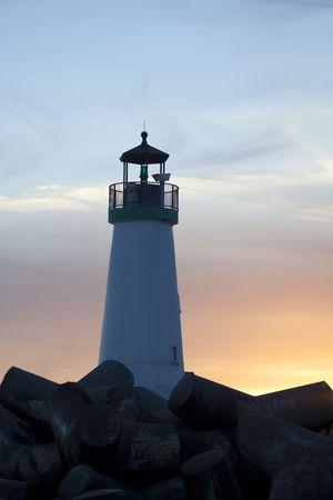 The Walton Lighthouse (Santa Cruz Harbor Light)  in Santa Cruz at sunset
