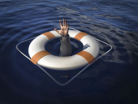 turmoil: A life saver with the arm of a business man from under the water. Concept image to illustrate a bailout. Stock Photo
