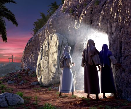 Mary Magdalene, Mary, & Salom walking up to the bright empty tomb of Jesus Christ early Sunday morning, Showing Golgotha in the background. Stock Photo