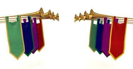 Medieval trumpets with banners on a white background Stock Photo