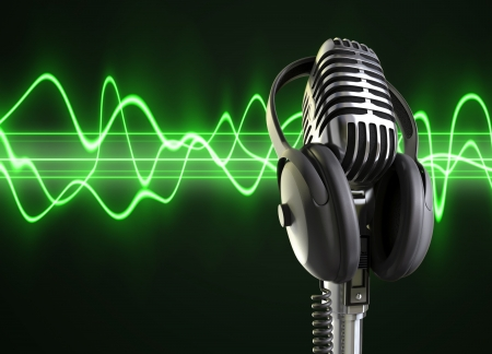A microphone with headphones on top woth a audio wave background.