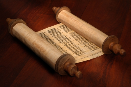 scripture: Ancient scrolls of papyrus paper with Hebrew text