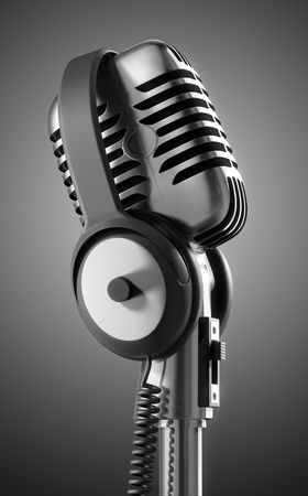 amp: Black &amp, White 50s microphone with headphones &amp,