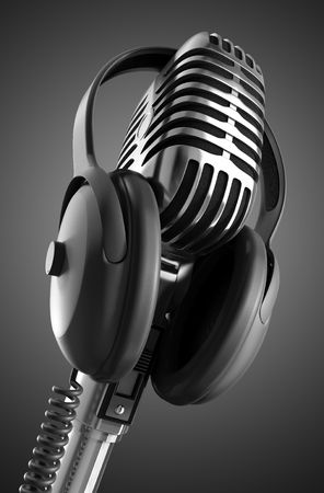 Black &amp, White 50s microphone with headphones &amp,  photo