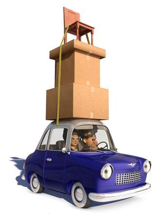 Een cartoon familie rijden in een auto van de cartoon uitvoering van een lading van hoge stapel vakken en een stoel die is vastgebonden op de auto op een witte achtergrond