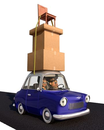 A cartoon family driving in a cartoon car carrying a load of tall stack of boxes and a chair that is strapped to the car over a white background