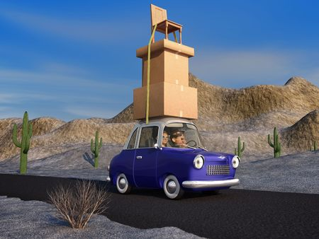 A cartoon family driving through the desert in a cartoon car carrying a load of tall stack of boxes and a chair that is strapped to the car. photo
