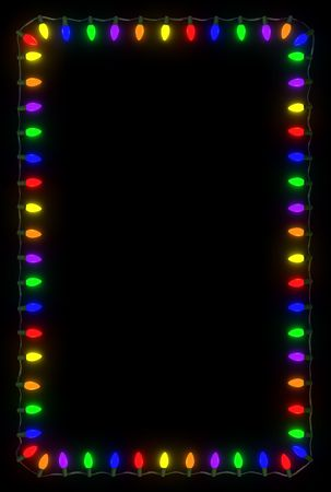Christmas lights frame on black background.  Reklamní fotografie