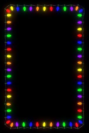 sfondo luci: Telaio di luci di Natale su sfondo nero.