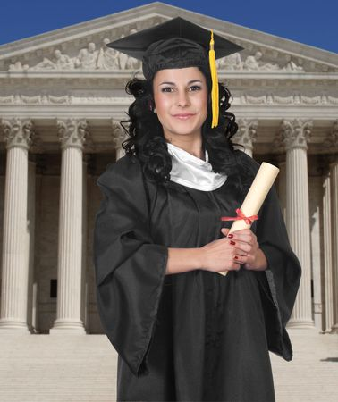 scholastic: Young woman in cap and gown holding a diploma on a white background