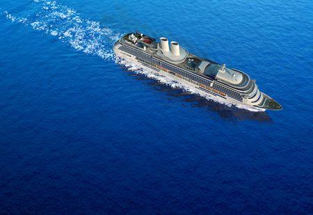mares: vista de p�jaro de barco dispar� a nivel del agua de cruceros de lujo blanco en un d�a claro con calma mares