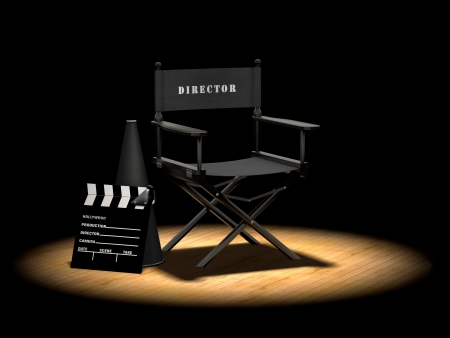 Director's chair with megaphone and clapper board on a wood floor under a spotlight Banco de Imagens - 7038170