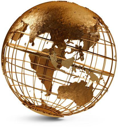 白い背景の上、東半球を示す金属のグローブ