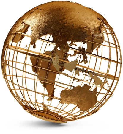 Metal globe showing the Eastern Hemisphere on a white background Stock Photo