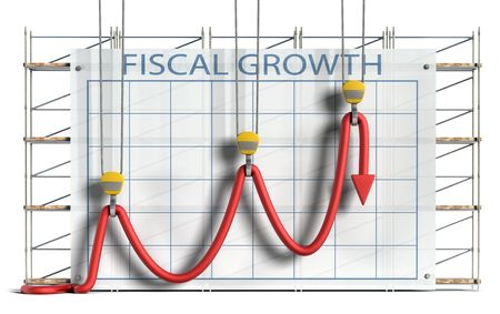 bogus: Business concept showing construction equipment attempting to hold a limp chart line into what appears to be an upward trend against a chart and scaffolding background.