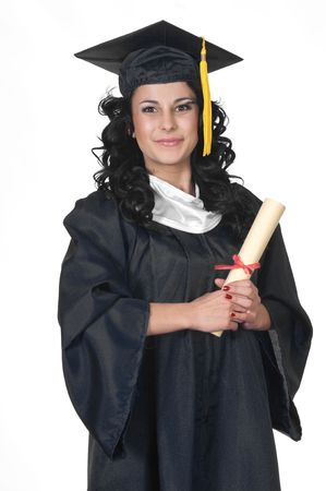 Young woman in cap and gown holding a diploma on a white background Stock Photo - 7039714