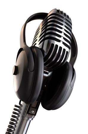 50s microphone with headphones with a red background &amp,  photo