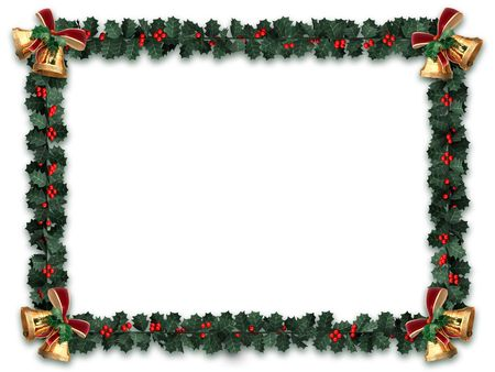 holiday garland: Holly garland border with gold bells on a white background with letter sized aspect ratio Stock Photo